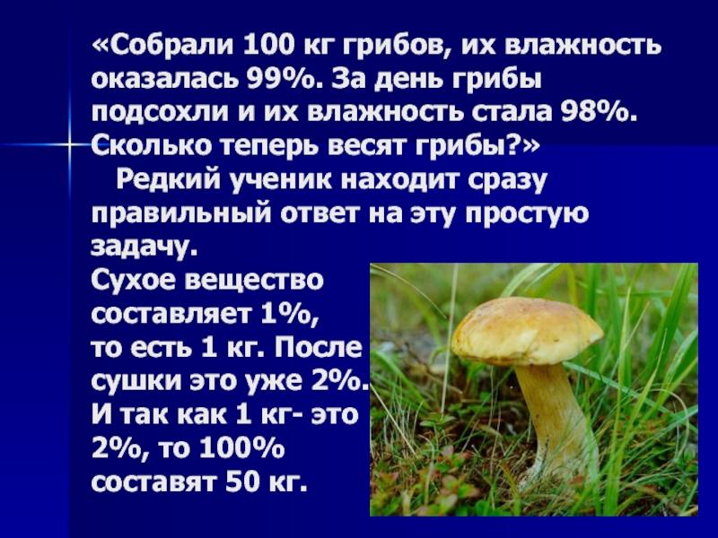 собрали 100 кг грибов влажность