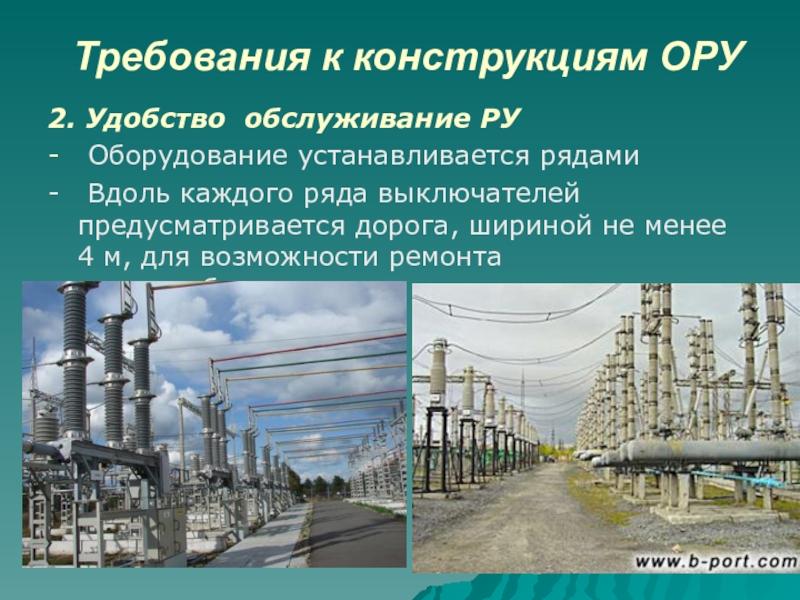 Требования к конструкциям ОРУ2. Удобство обслуживание РУ- Оборудование